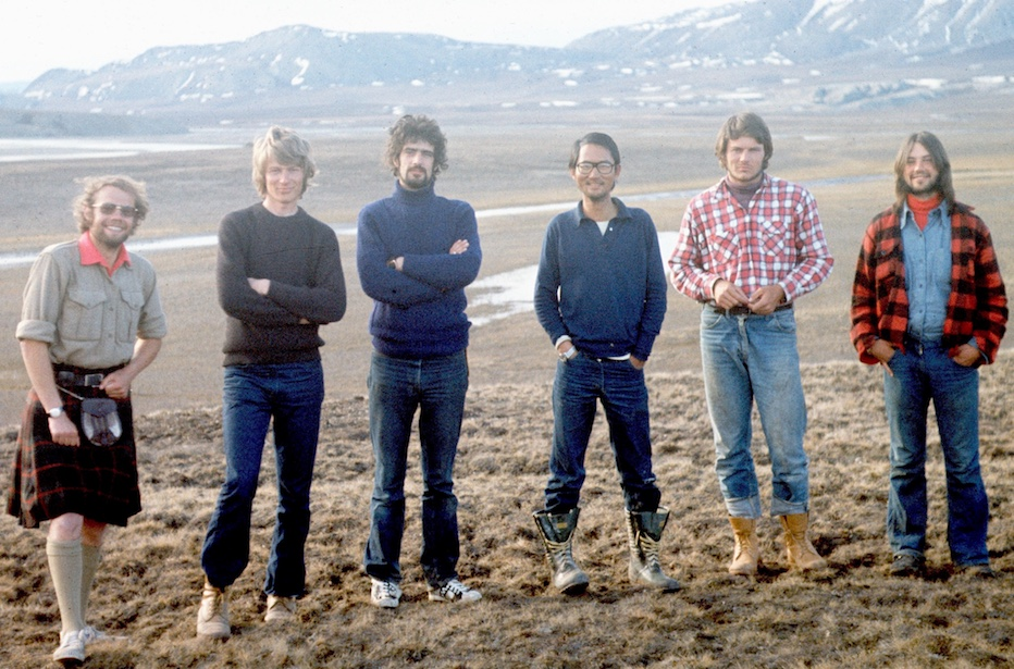 Graham (third from left) on Ellesmere Island as part of the McMaster University arctic hydrology research team in 1974. Left to right: Colin Ballantyne, Bruce Bennett, Graham Cogley, Ming-ko Woo, Rick Gillie and Randy Crispo.