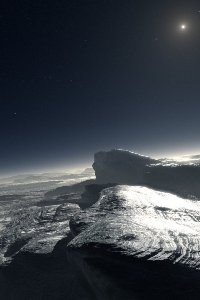 Artist's impression of the icy surface of Pluto, with atmospheric haze and the faint Sun in the sky. Credit: ESO/L. Calçada.